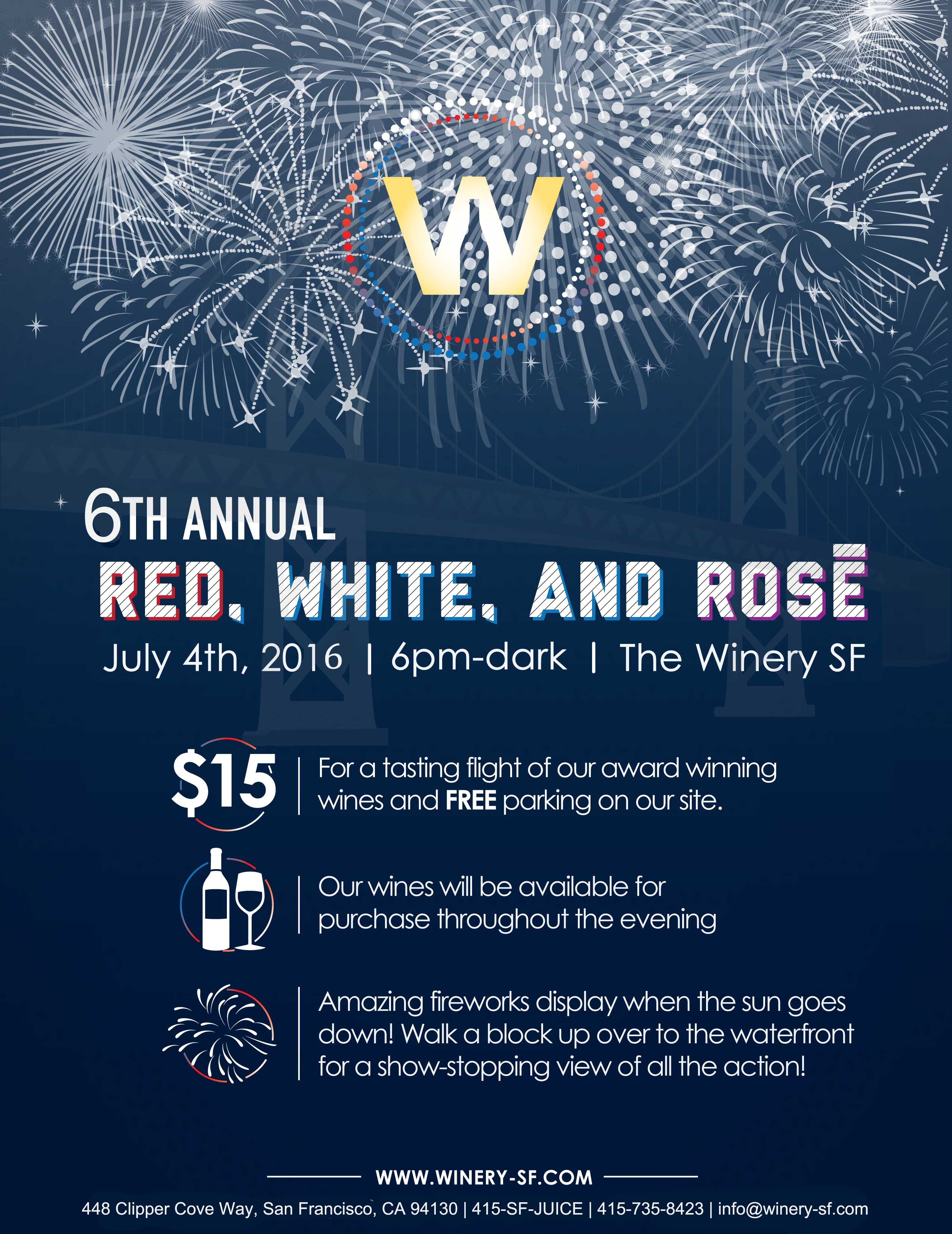 SAVE THIS EVENT 4th of July Celebration: Red, White and Rosé at The Winery SF & Winemaker Studios