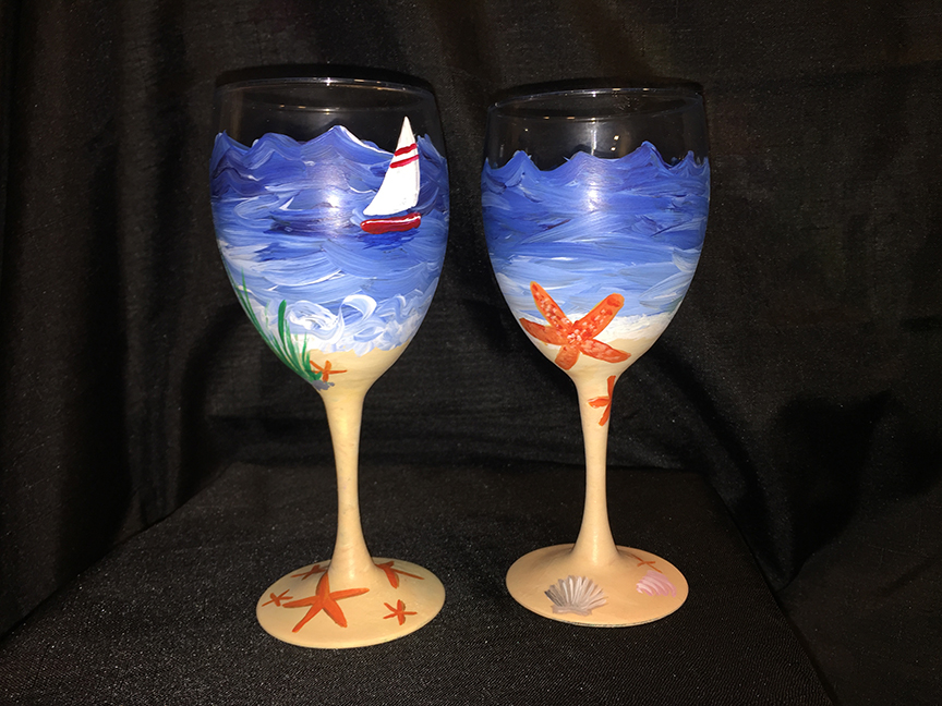 Beach wineglasses at the mooring tickets tue jan 26 for Type of paint to use on wine glasses