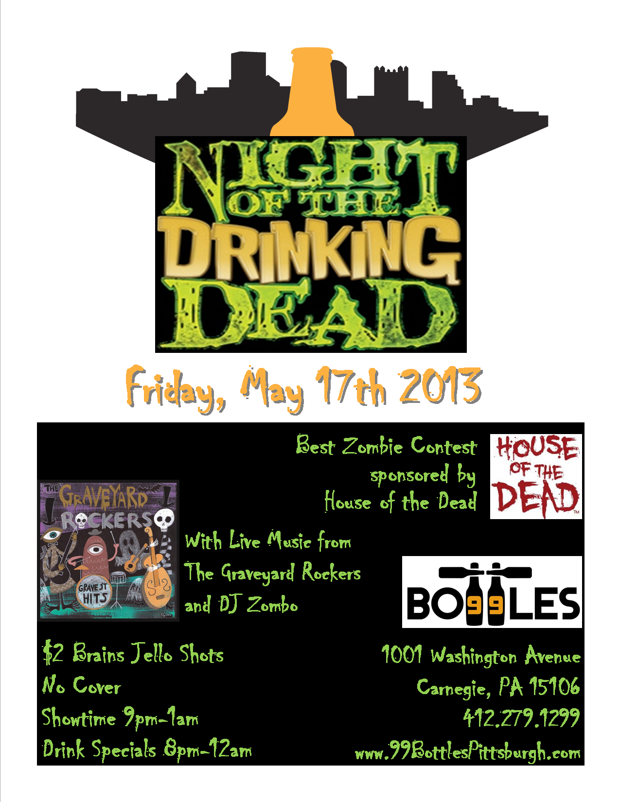 99 Bottles Night of the Drinking Dead Flyer