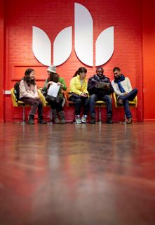 Students sitting and talking at the Luton campus of the University of Bedfordshire