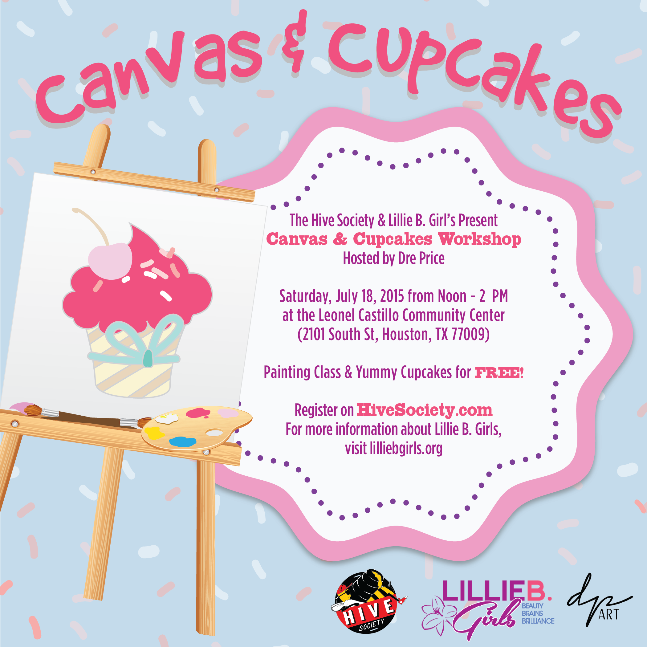 canvas and cupcakes with hive society and lillie b girls