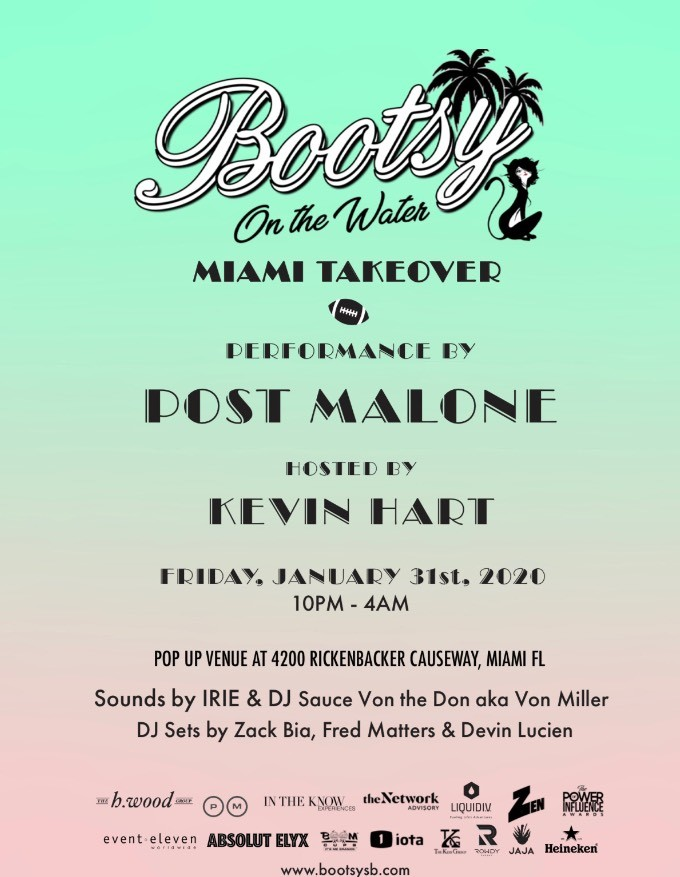 Post Malone Runaway Tour 2020 Miami. Tickets and VIP Tables, Post Malone Performs at the Bootsy on the Water Miami Takeover Super Bowl Party on January 31, 2020. Kevin Hart hosts alongs with special guests,