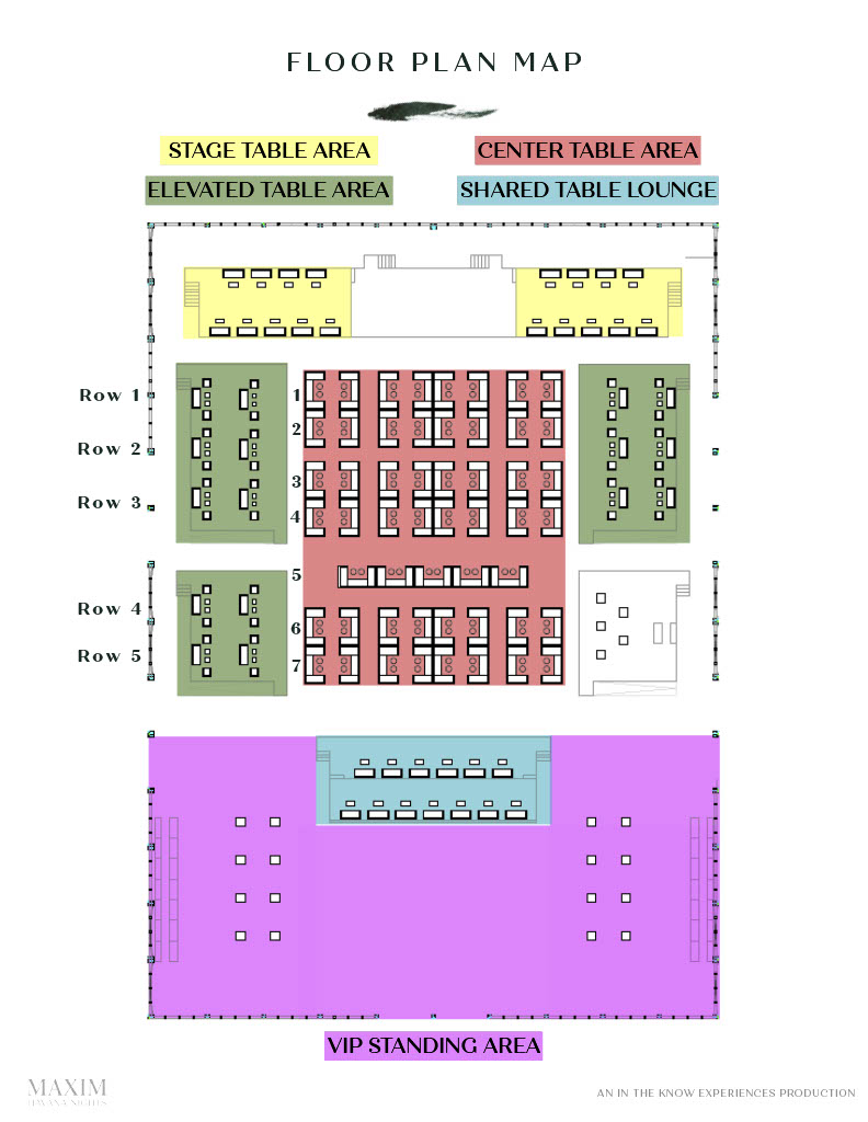 Maxim Super Bowl Party VIP Table Area Layout. Purchase Official Tickets and VIP Tables from VIPexclusives.com