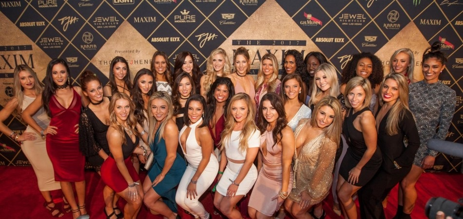 The New England Patriots Cheerleaders attend the Maxim Super Bowl Party