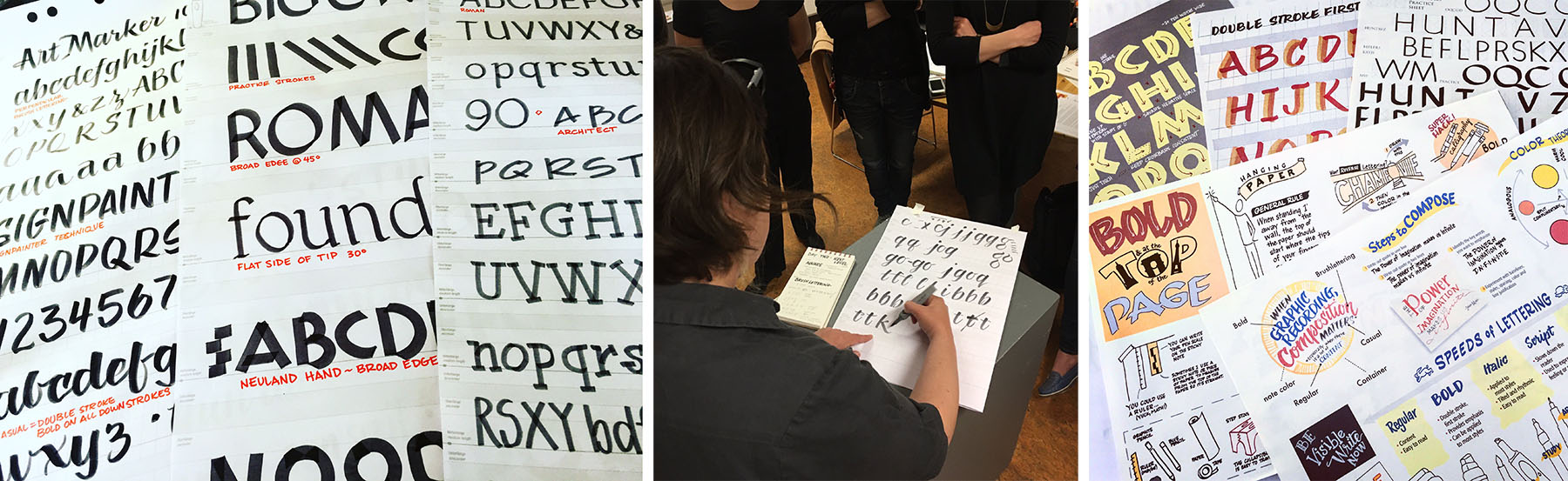 Exemplars, Instruction of brush lettering (photo by Sam Bradd), and handouts from workshops