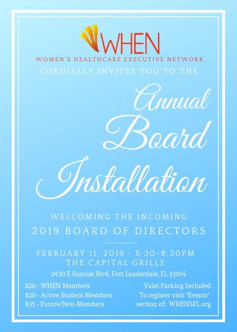 2019 WHEN Board Installment Event