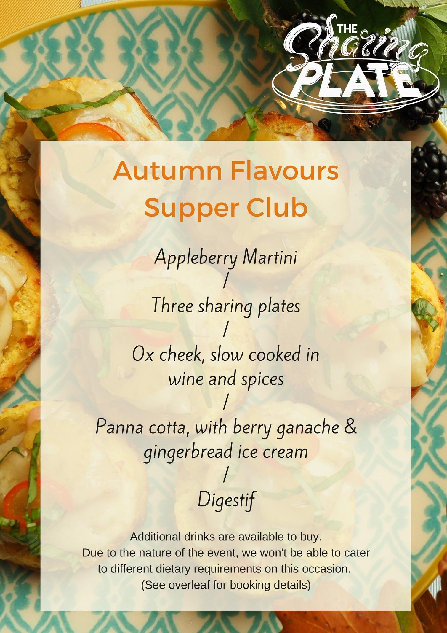 Menu - Autumn Flavours Supper Club