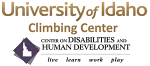 University of Idaho Climbing Center and Center on Disabilities and Human Development logo.