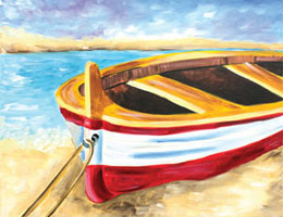 Canvas Painting - Beached Boat