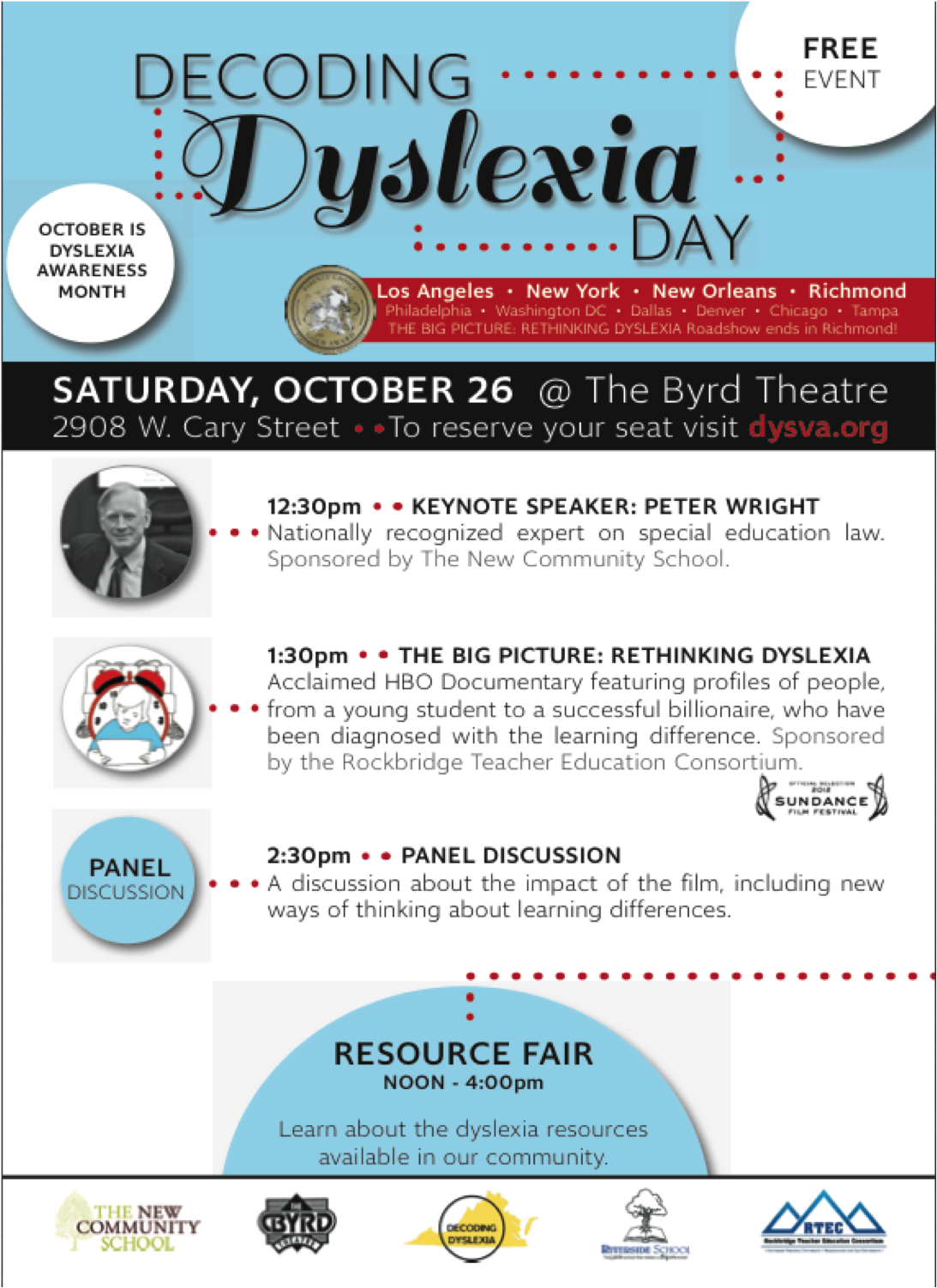 Decoding Dyslexia Day Big Picture Roadshow Tour RVA