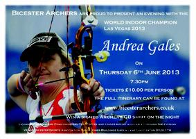 Bicester Archers Present an Evening with Andrea Gales