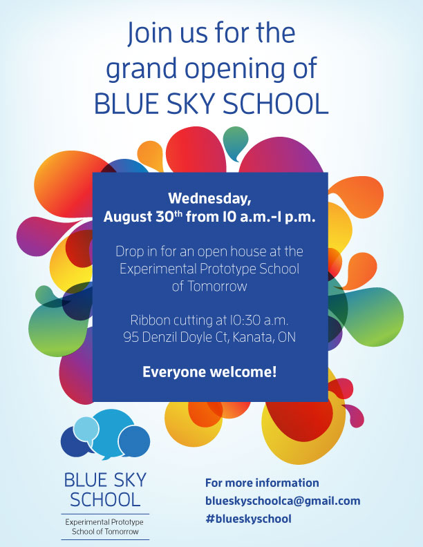 Blue Sky School Grand Opening invitation