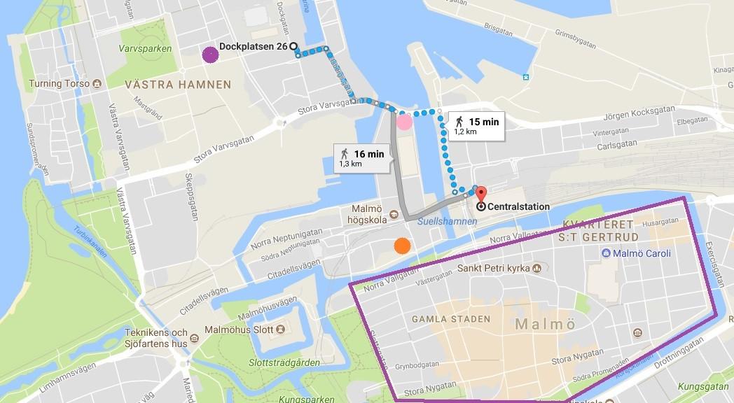 Map hotels Malmo