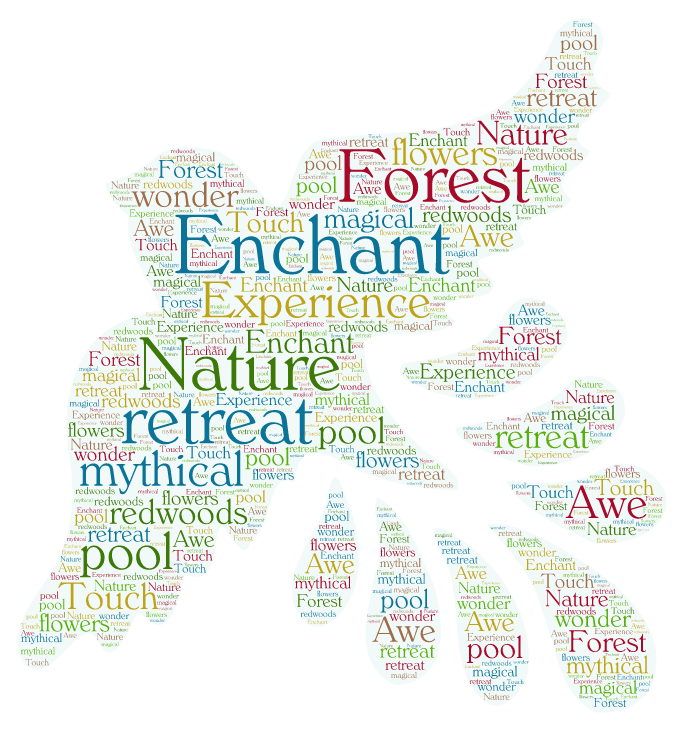 Word cloud showing some of the elements of enchantment