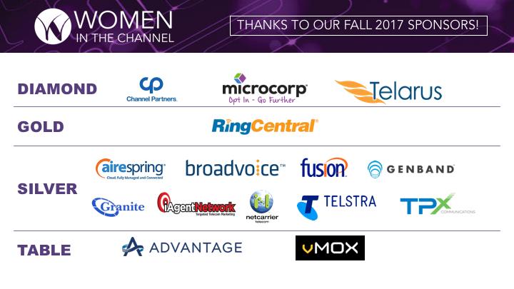 Women in the Channel Sponsors Fall 2017