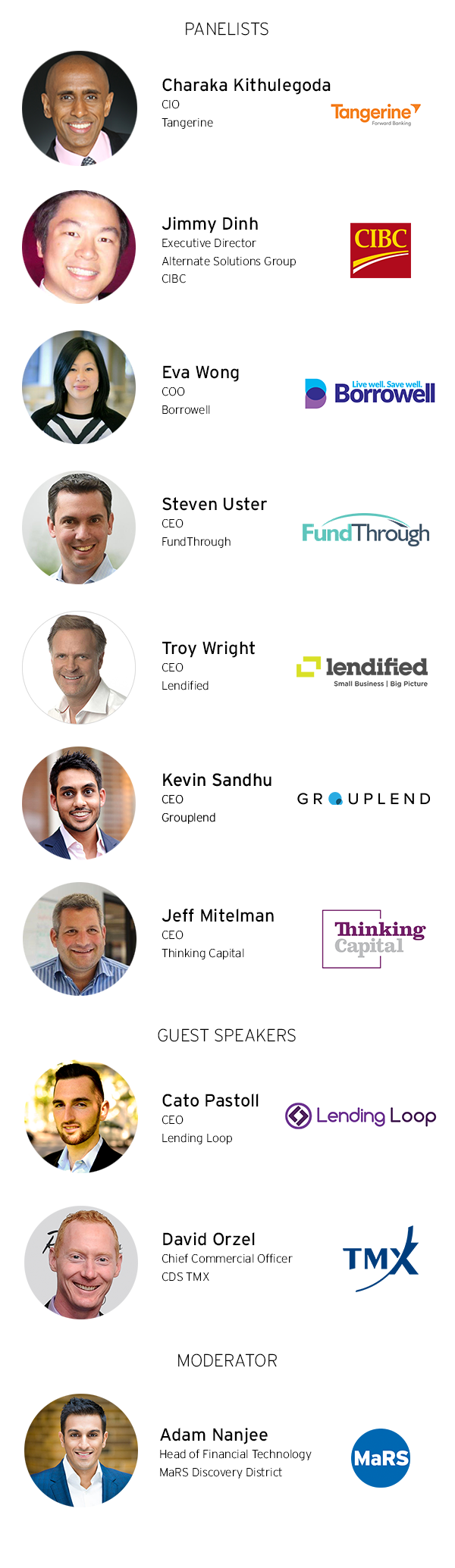 Panelists: Charaka Kithulegoda, CIO, Tangerine; Jimmy Dinh, Executive Director - Alternate Solutions Group, CIBC; Eva Wong, COO, Borrowell; Steven Uster, CEO, FundThrough; Troy Wright, CEO, Lendified; Kevin Sandhu, CEO, Grouplend; Jeff Mitelman, CEO, Thinking Capital. Guest Speakers: Cato Pastoll, CEO, Lending Loop and David Orzel, Chief Commercial Officer, CDS TMX. Moderator: Adam Nanjee, Head of Financial Technology, MaRS Discovery District.