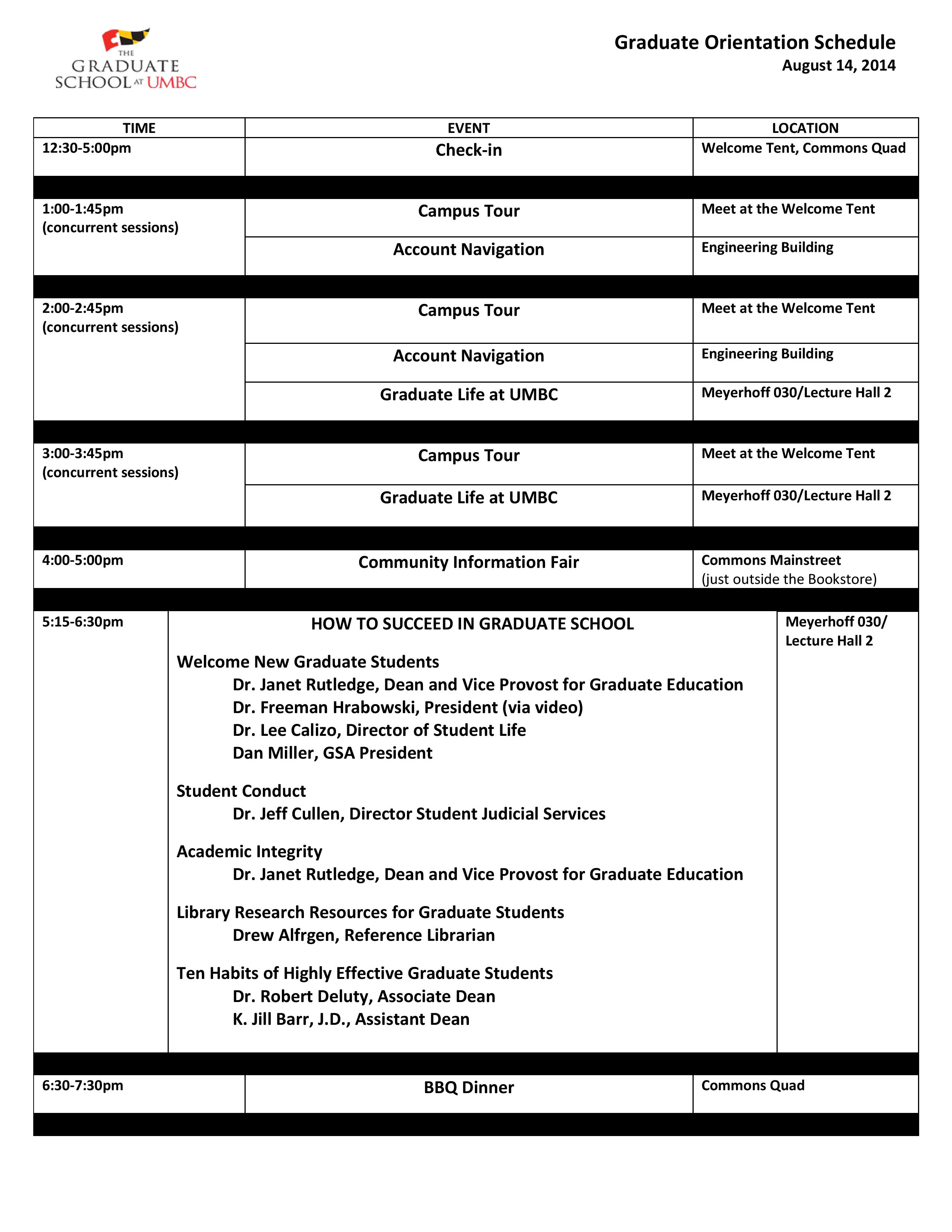Fall 2014 Orientation Schedule