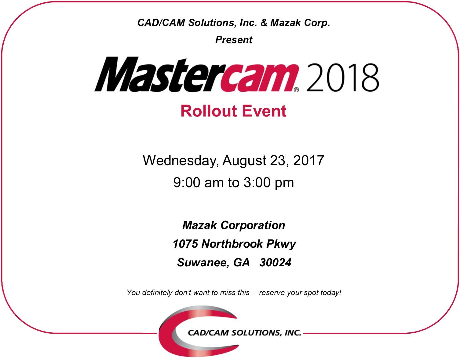Mastercam 2018 Rollout Event 8/23/2017 9 - 3
