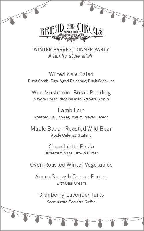 Winter Harvest Dinner Party Menu