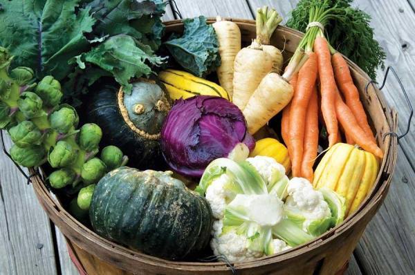 Rustic wide wooden bucket of winter veggies
