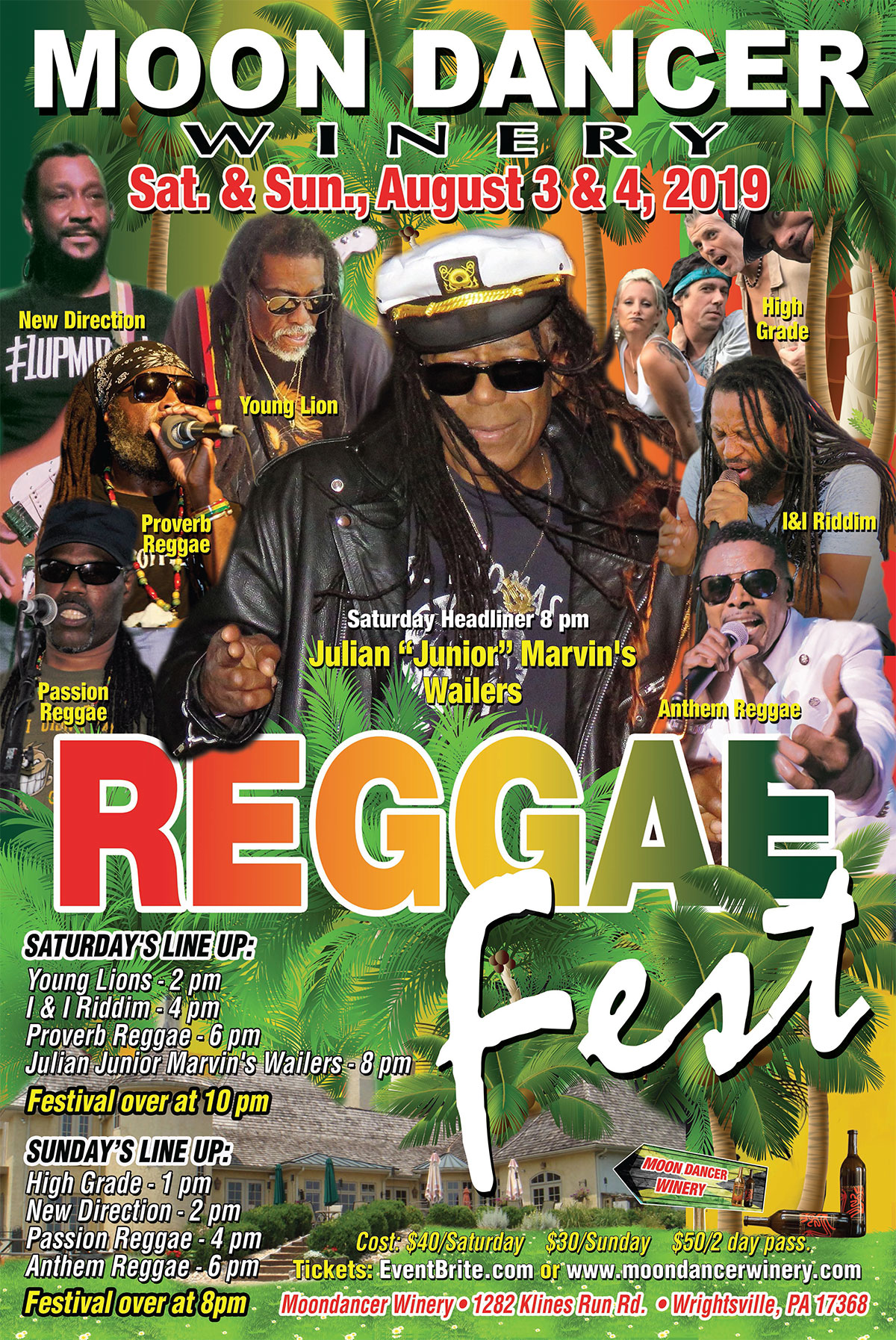 Poster with images of bands playing at Reggae Festival