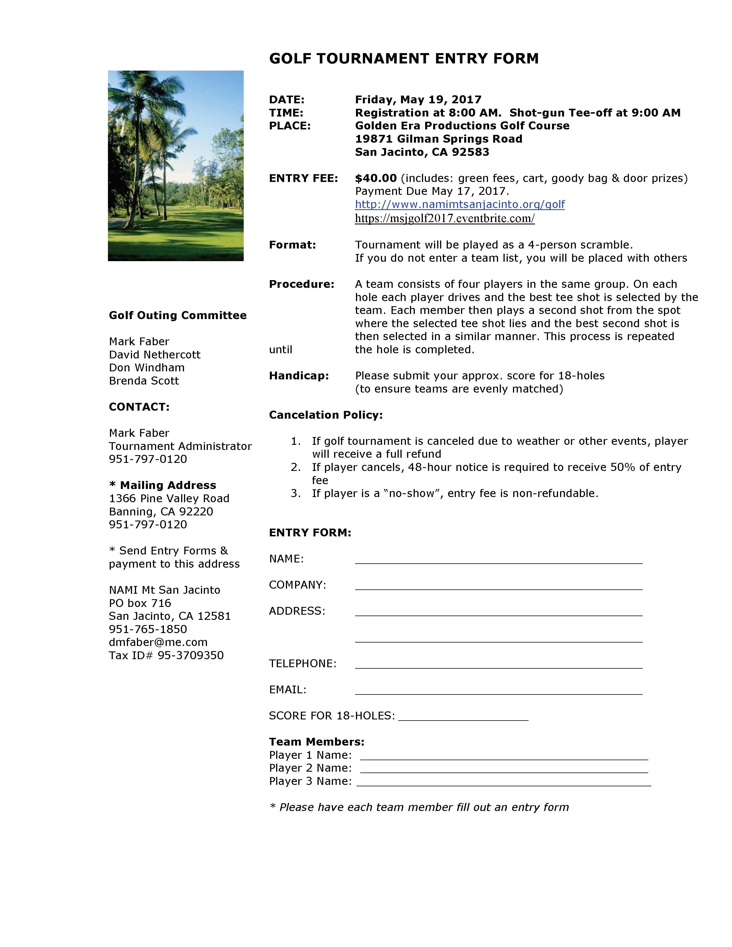 Golf Entry Form