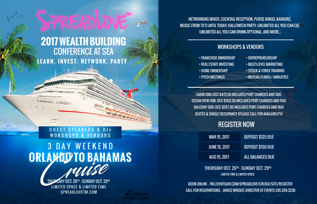 2017 Wealth Building Conference At Sea, workshops, vendors, payment, activities