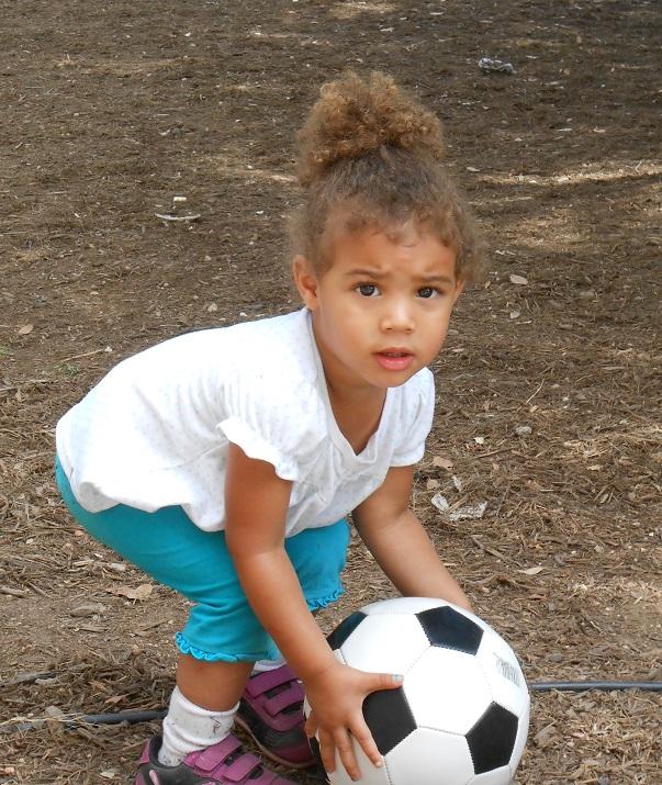 Xochitl in soccer training at Eco Kids Preschool