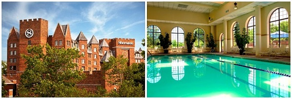 PICTURE OF HOTEL AND OF INDOOR POOL