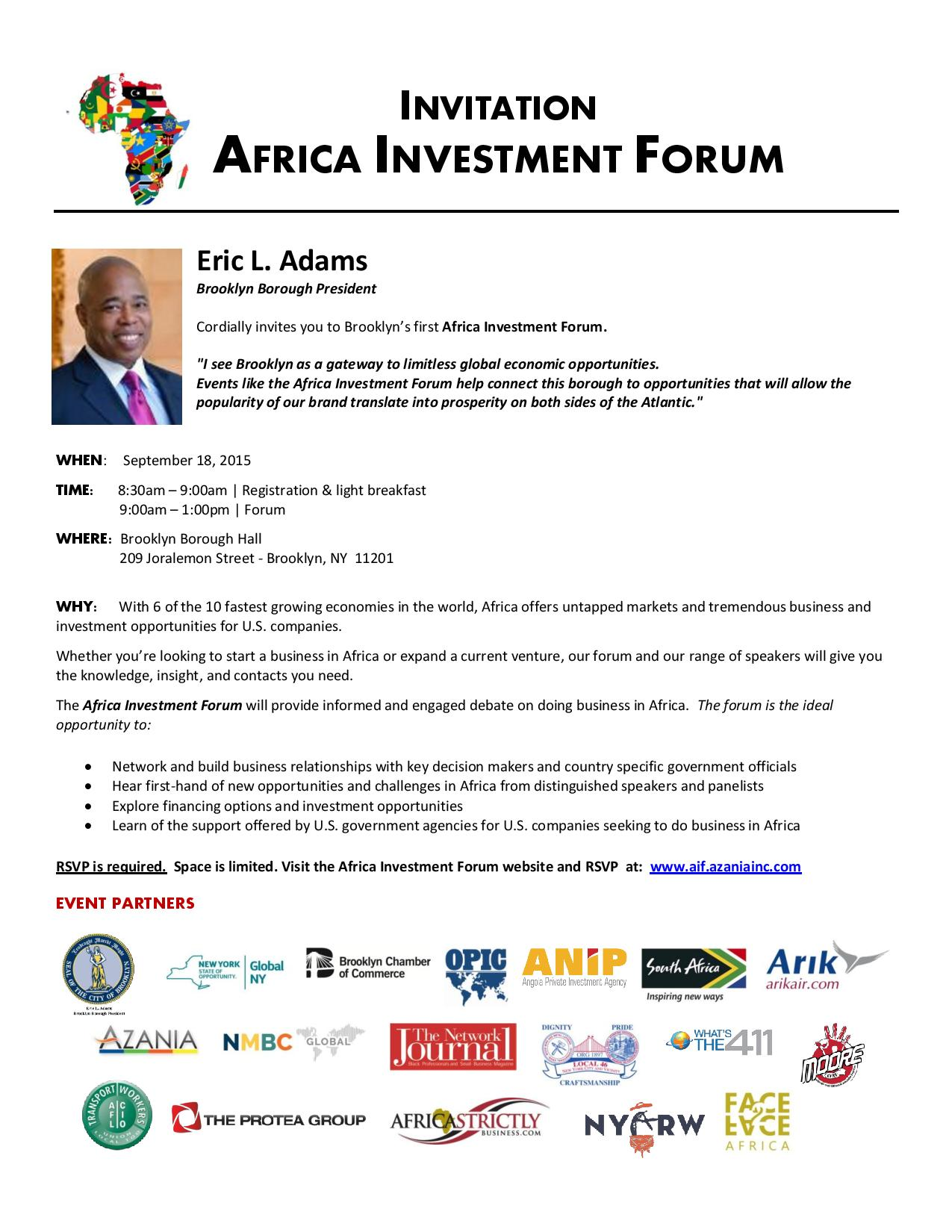 Africa Investment Forum - September 18, 2015