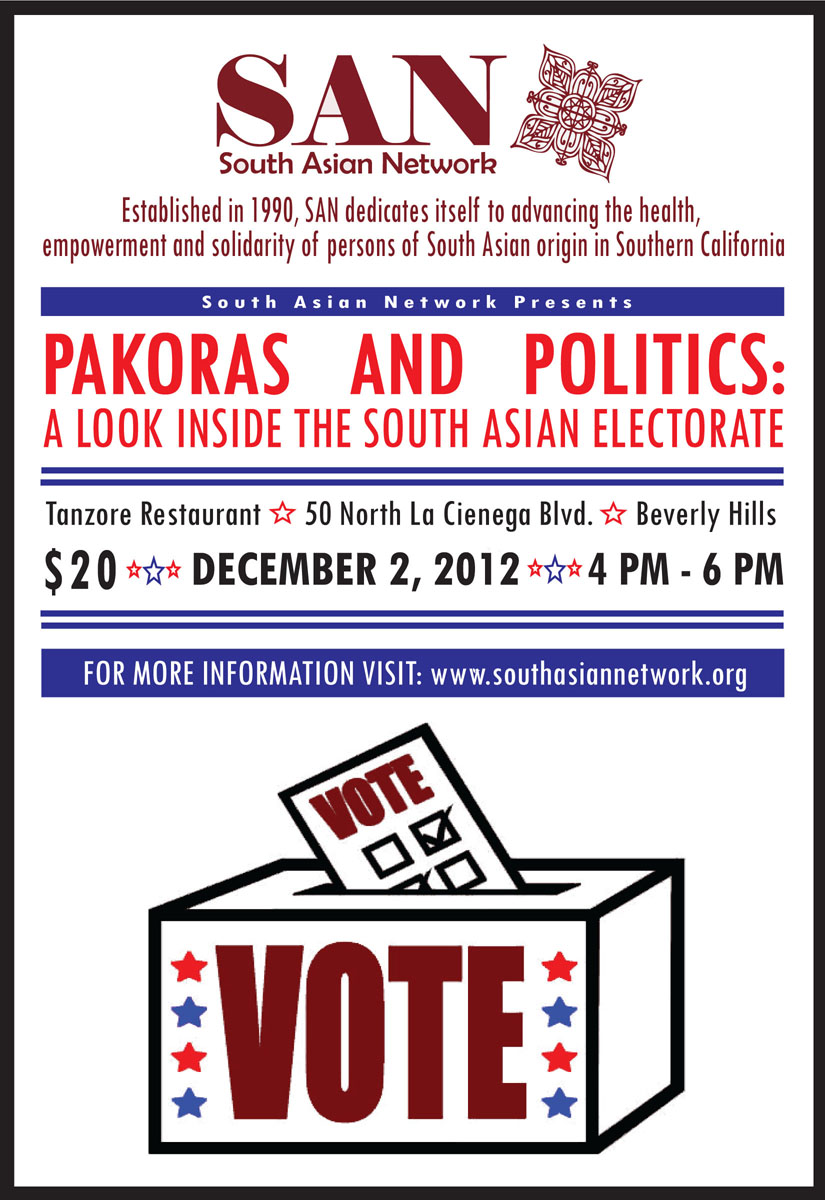 Pakoras and Politics flyer