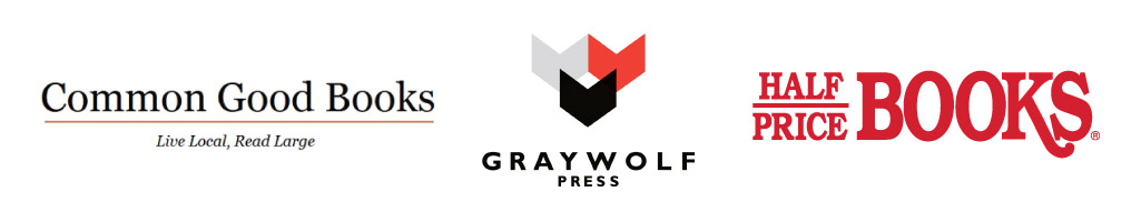Common Good Books, Graywolf Press and Half Price Books logos