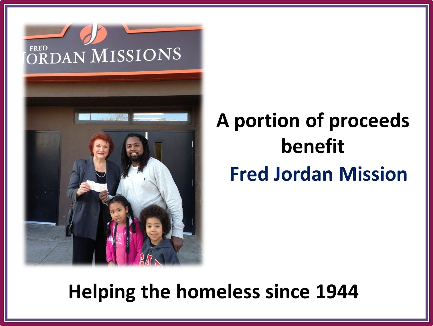 Deon Edwards, publisher of TWICEDOT is seen delivering a donation check to Ms Williw Jordan, Co-Founder of Fred Jordan Missions. The check was from a Los Angeles business owner.