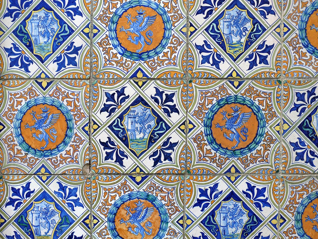 These tiles are decorated in the traditional style.