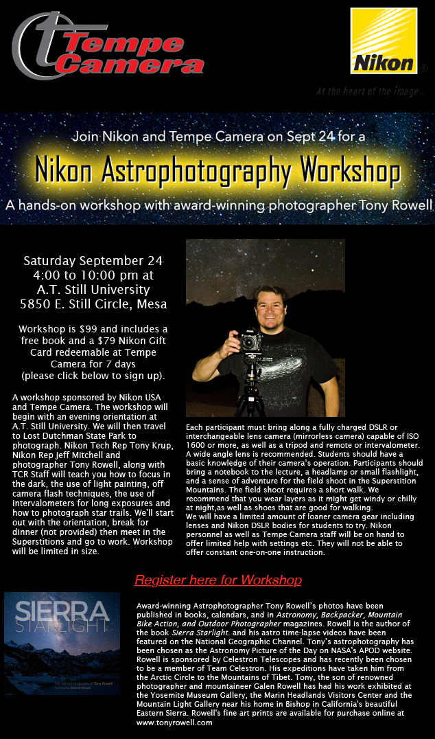 Nikon Astrophotography Workshop with Tony Rowell