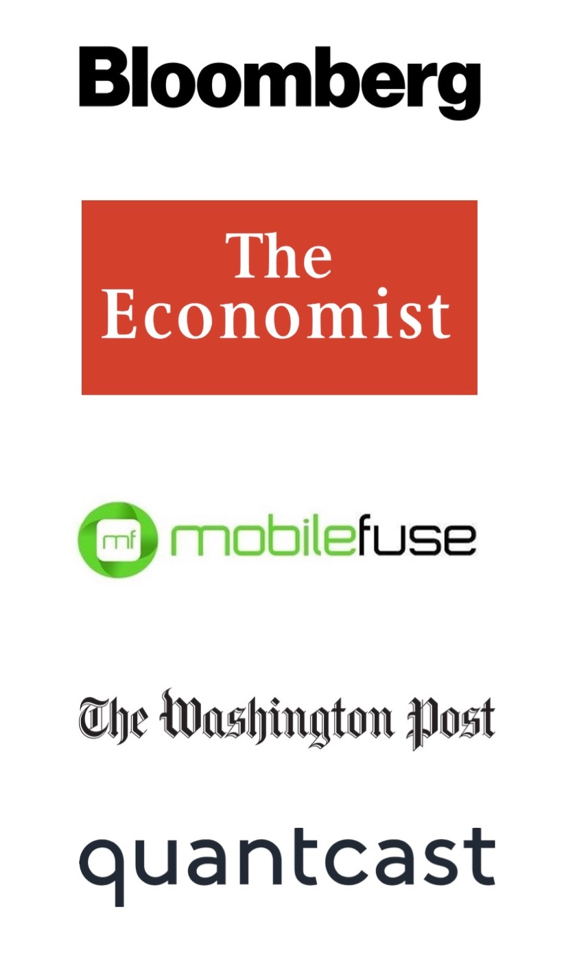 sponsors for BAARC bash Bloomberg Quantcast Mobile Fuse The Washington Post and The Economist logos