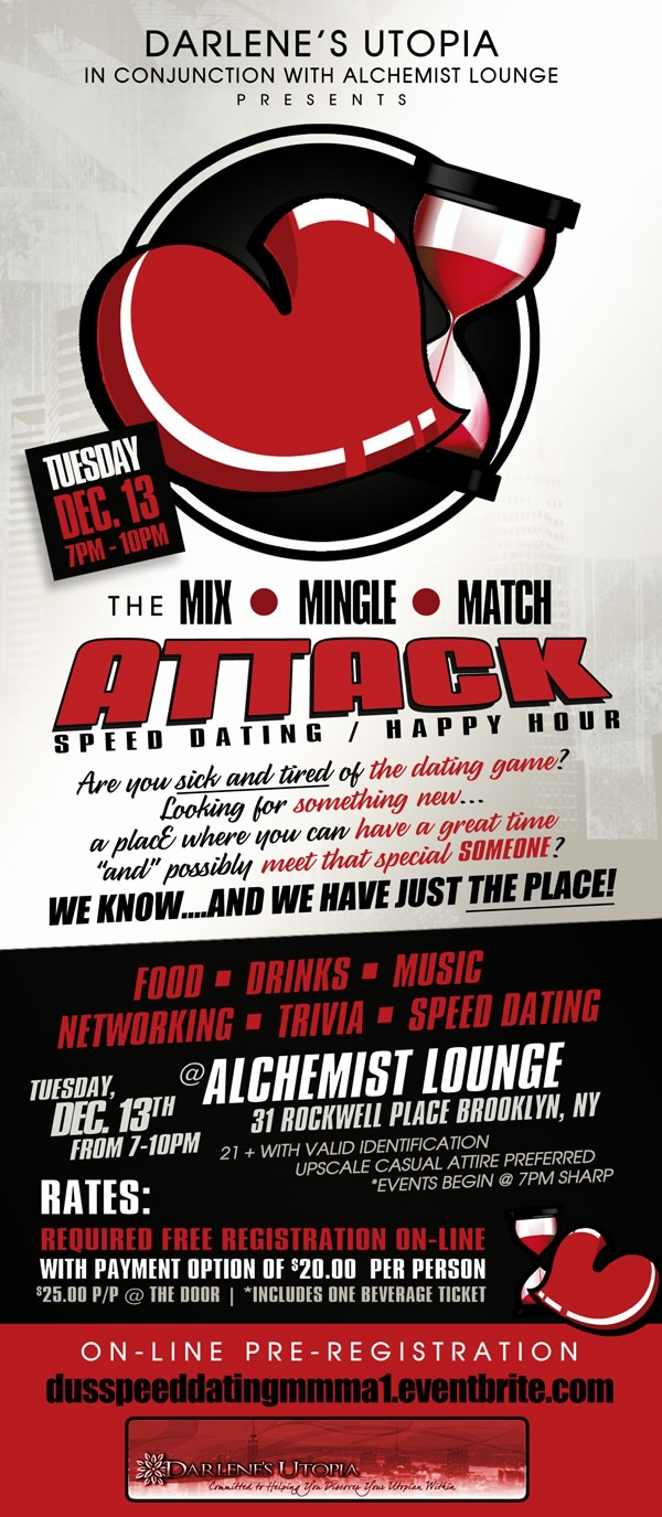 Speed Dating Event @ Alchemist Lounge 12.13.11, Brooklyn, NY 7pm-10pm 888.827.6055