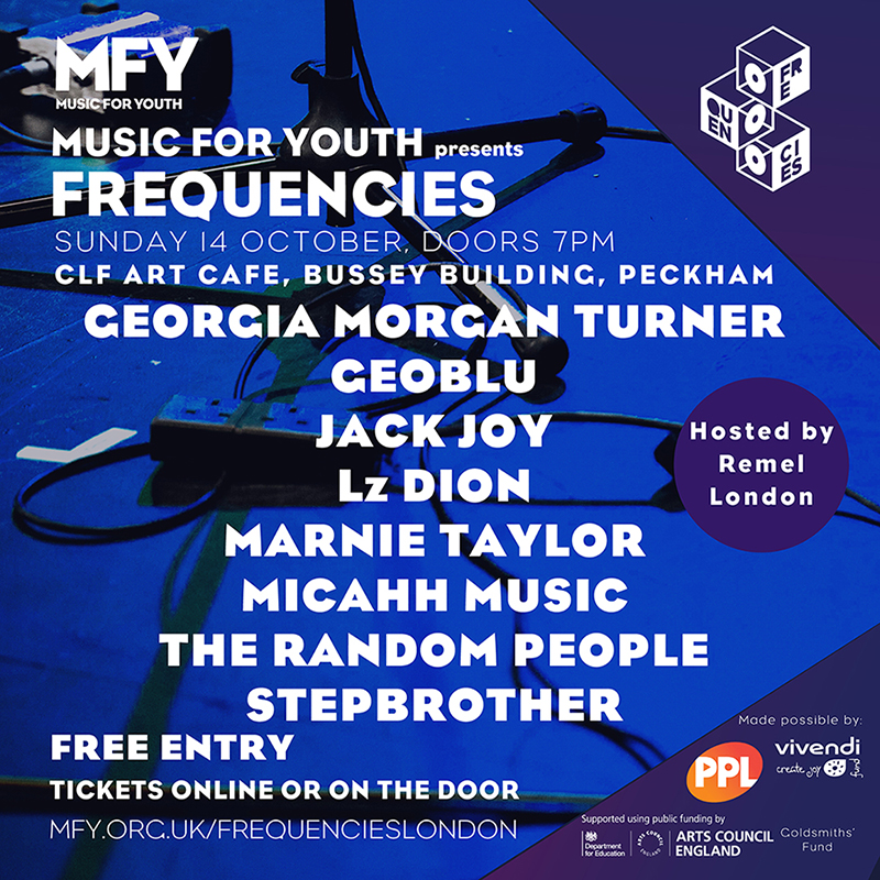 Artists Flyer for Music for Youth Frequencies London, 14th October