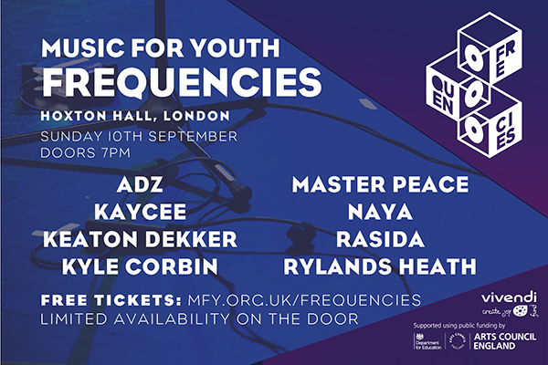 New Artist Showcase Line-up, Music for Youth Frequencies, Sunday 10th September