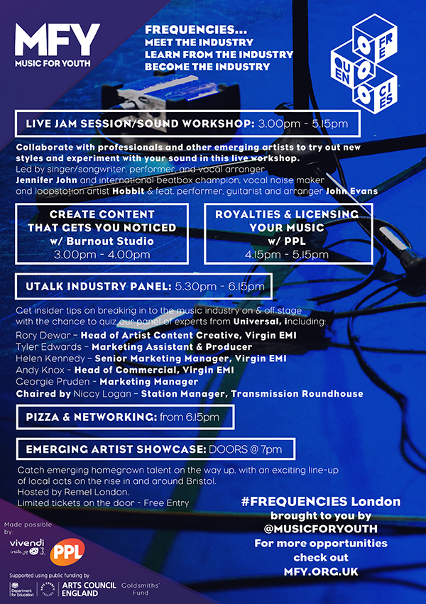 Flyer for Music for Youth Frequencies London, 14th October