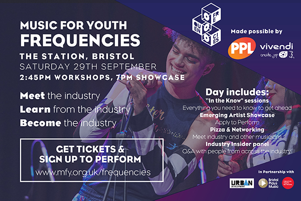 Flyer for Music for Youth Frequencies Bristol, 29th September 2018