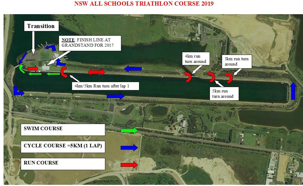 2019 NSW ALL SCHOOLS TRIATHLON COURSE MAP