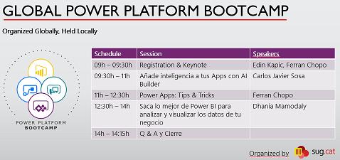 Agenda for the Global Power Platform Bootcamp Barcelona