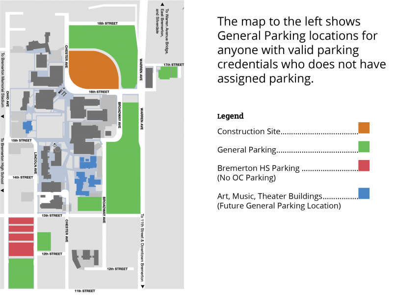 Parking Map of the OC Bremerton Parking Options both on and off campus