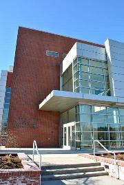 Picture of the front entry of the Humanities & Student Services bulding on the Olympic College Bremerton campus.