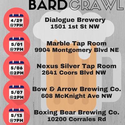 Bard Crawl calendar dates and venues