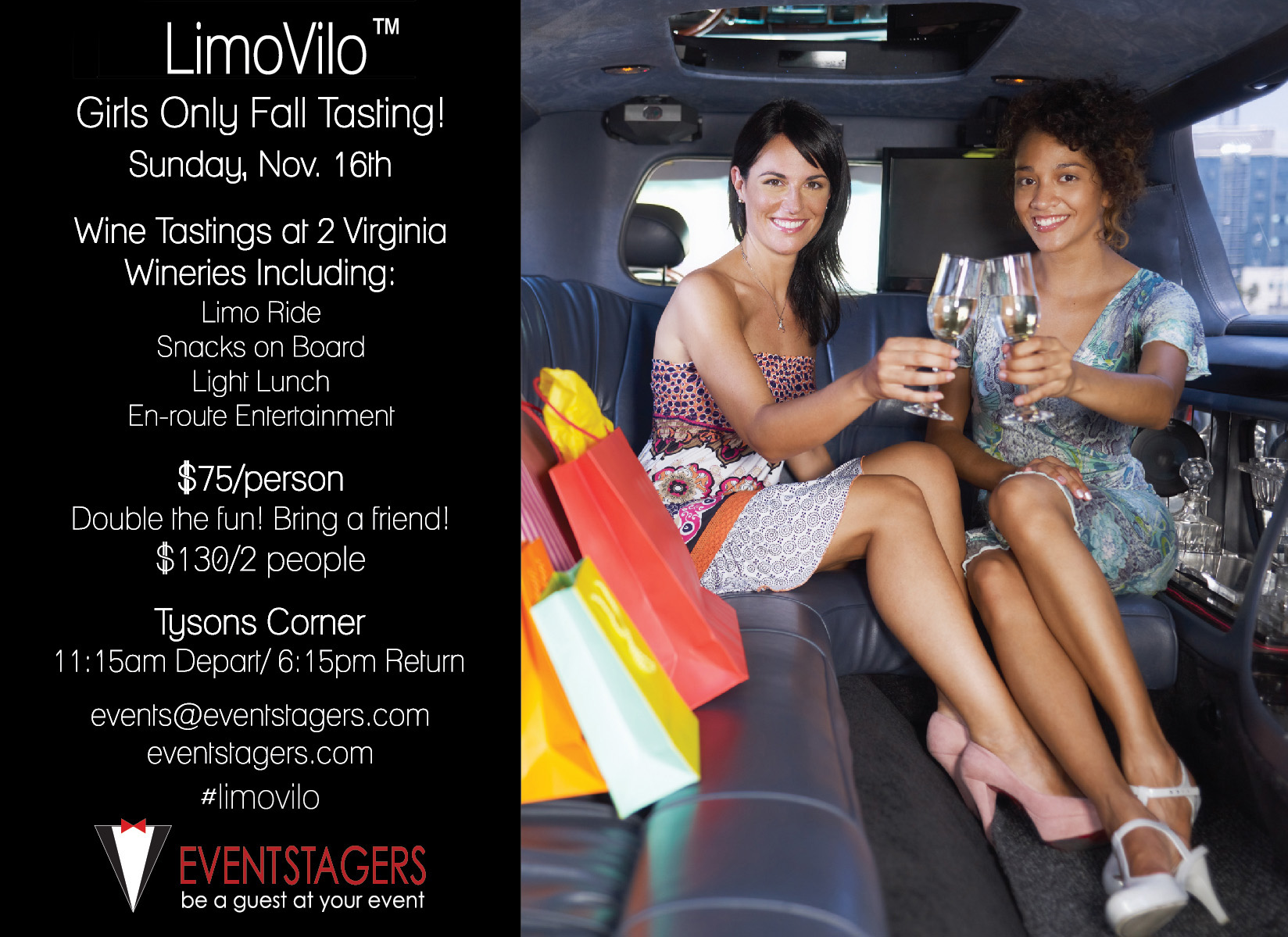 Girls out on the town! Limo Ride! Wine Tasting