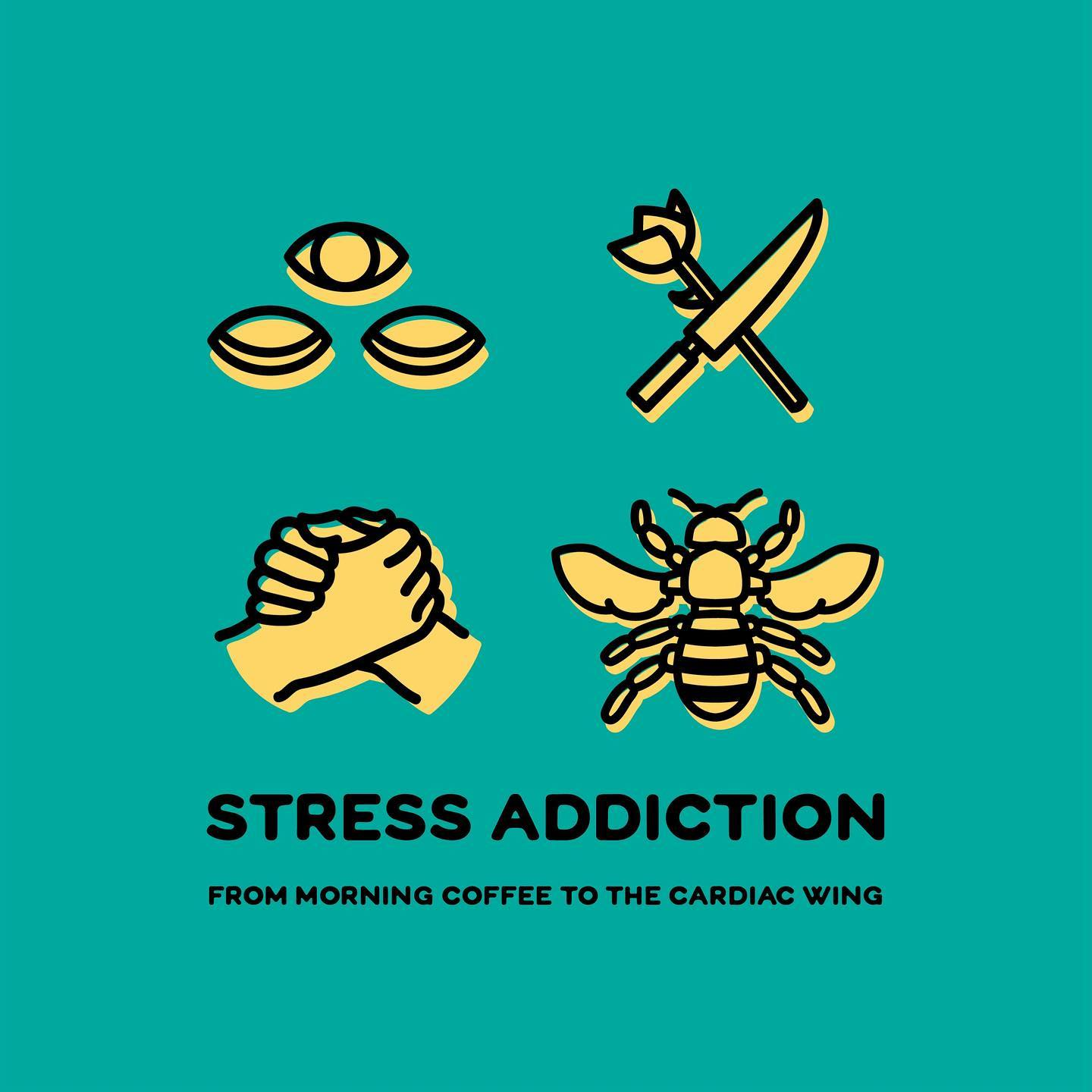 Stress Addiction talk promotional graphic with icons