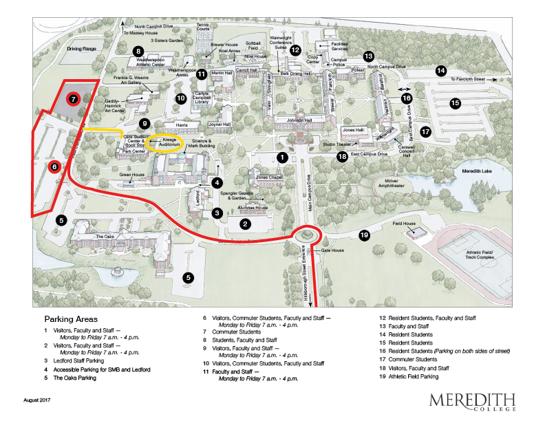 map of meredith college with directions to event