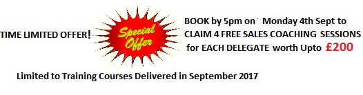 Book by 5pm Monday 5th Sep 2017 for Free Sales Coaching